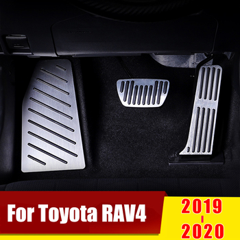 2pcs new no drilling gas brake foot pedal cover red aluminum alloy foot pedal covers for toyota rav4 rongfang 2019 2020 Aluminum Accelerator Gas Pedal Brake Pedals Non-Drilling Cover Footrest Pads For Toyota RAV4 RAV 4 XA50 2019 2020 Accessories