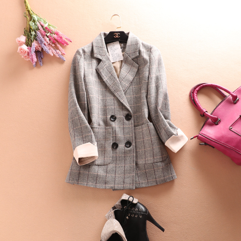 Suit Jacket Dress Suit-Double-Breasted Womens Blazers Spring Plaid Autumn Long-Sleeved