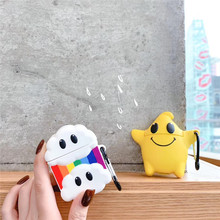 For AirPod 2 Case 3D Cloud Rainbow Star Cartoon Soft Silicone Wireless Earphone Cases Apple Airpods Cute Cover Funda