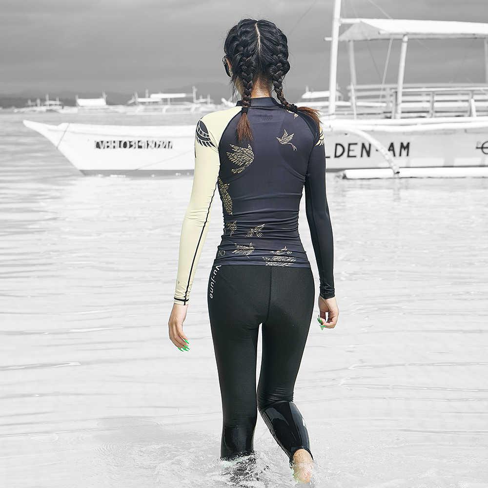 نو-يونيو ملابس السباحة طويلة الأكمام المرأة المايوه TwoPiece ملابس السباحة تصفح بدلة للجسم شاطئ بذلة رفع ثوب السباحة ملابس سباحة حريمي