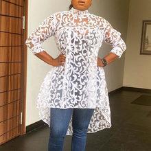 Clocolor – chemisier en dentelle blanche pour femme, haut transparent, sexy, mode africaine, chemise longue 3XL, tenue de bureau, automne été 2020