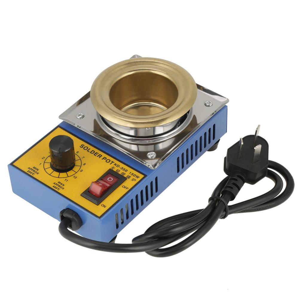 150W Lead-free Solder Pot Soldering Desoldering Bath Titanium Plate 50mm 200-450 Degree US AU Plug AC110-220V