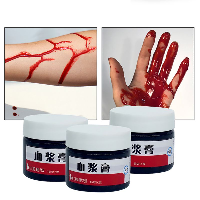 Artificial Realistic Fake Blood Plasma Cream Vampire Makeup Props Halloween Scary Costume Party Favor Accessories.