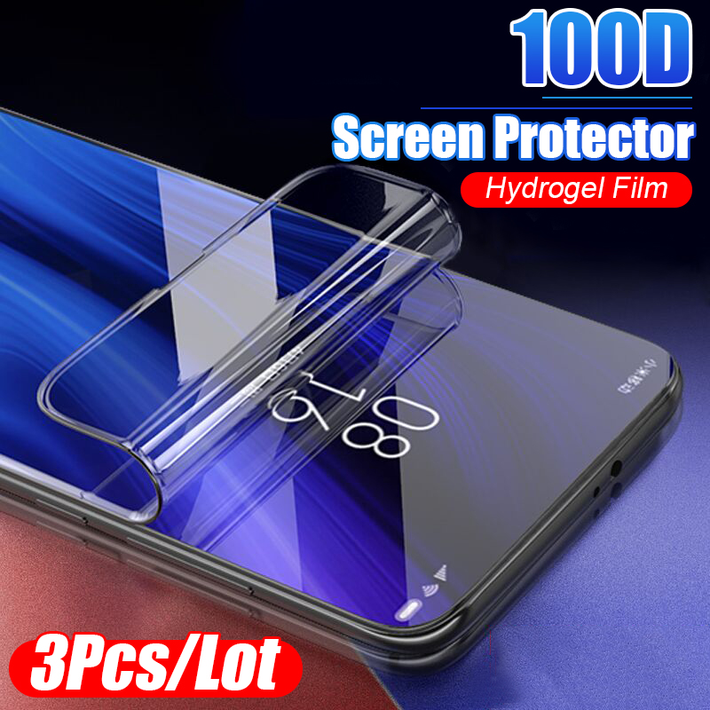 3Pcs 100D Protective Hydrogel Film For Xiaomi Redmi 4X 5A 5 Plus 6A 8 Pro 7A Pro Note 5 8 7 Pro Screen Protector Full Cover Film-in Phone Screen Protectors from Cellphones & Telecommunications