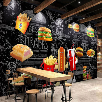 Custom Any Size Mural Wallpaper 3D Bread Hamburger Fast Food Restaurant Background Wall Decor Blackboard Graffiti Stickers