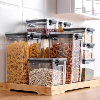 700/1300/1800ML Food Storage Container Plastic Kitchen Refrigerator Noodle Box Multigrain Storage Tank Transparent Sealed Cans 3
