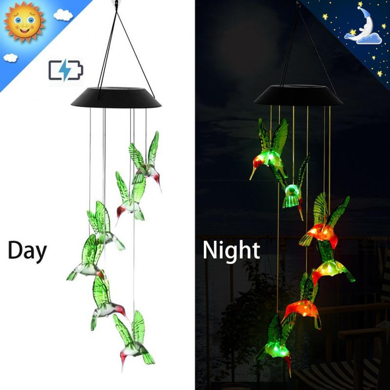 New Humming Bird LED Solar Romantic Windbell Lights Wind Chime Light String Lamp Color Changing For Patio Yard Decor
