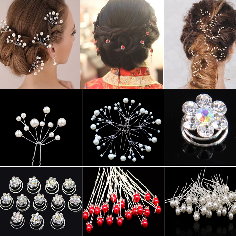Fashion Bridal Hairpins Hair Jewelry Crystal Flower Hair Clips Wedding Barrette Pearl Headress For Women Girls Hair Ornament