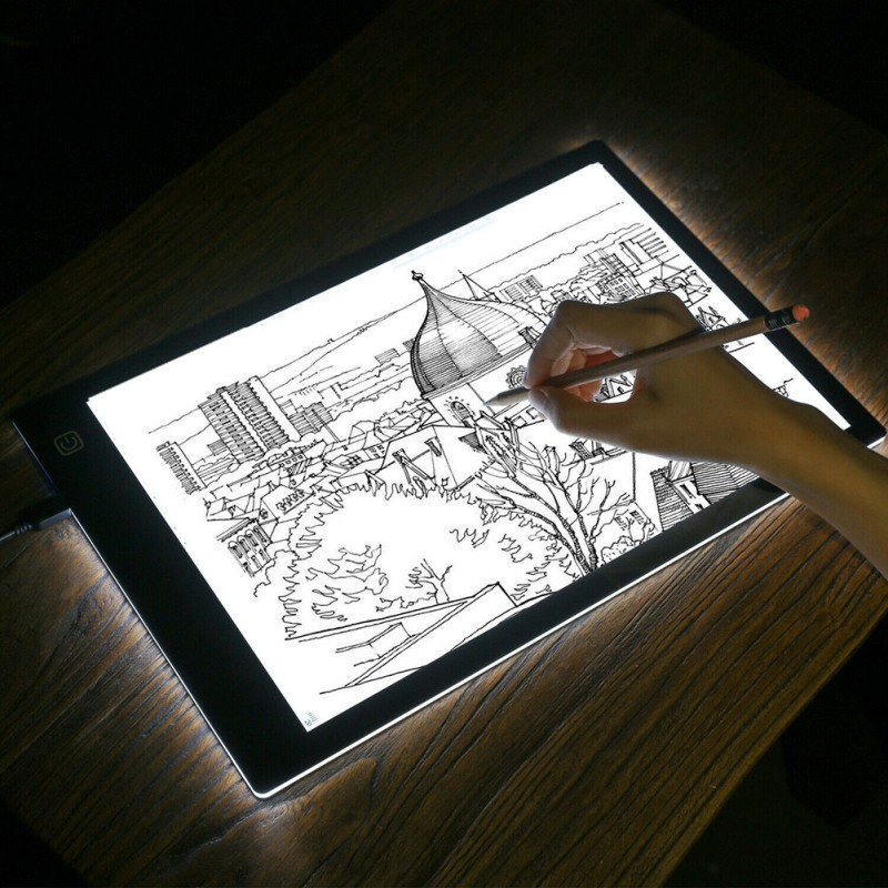 Graphics Tablet A4 LED Drawing Board Light Box Slim Tracing Pad Copy Tattoo Art Craft Stencil Eye Protection Bright Copy Board