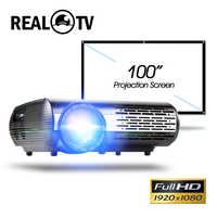 Real TV M2 serie completa HD 1080P HD LED Proyector de Casa opcional Android, wifi, HDMI USB AV Video Bluetooth Proyector con regalo