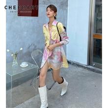 Shirt Dress Tie-Dye Pastel Button-Up Satin Long-Sleeve Pink Mini Yellow CHEERART Clothing