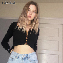 Crew Neck Long Sleeve Cropped T-Shirt Women Leopard Printed Button Crop Top Lady