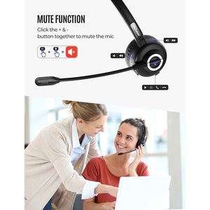 Image 3 - Mpow TH1 Bluetooth Headset Wireless Headphone With Noise Cancelling Mic Mute Fucntion Charging Dock For Truck Driver Call Center