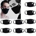 Модные черные маски с милым принтом PM2.5 маска для рта на открытом воздухе моющаяся мягкая многоразовая ветрозащитная Пылезащитная маска дл...