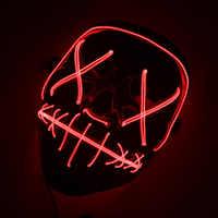 Máscara Led Halloween fiesta máscara máscaras de Maske luz brillante traje Cosplay Horror máscara Led EL cable de luz de la A