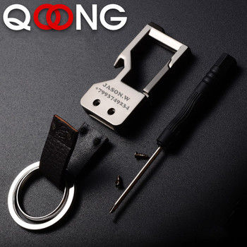 QOONG Custom Lettering Keychains Bottle Opener Keyrings Metal Engrave Name Customized Logo Key Chain For Car Women Men gift Y05 фото