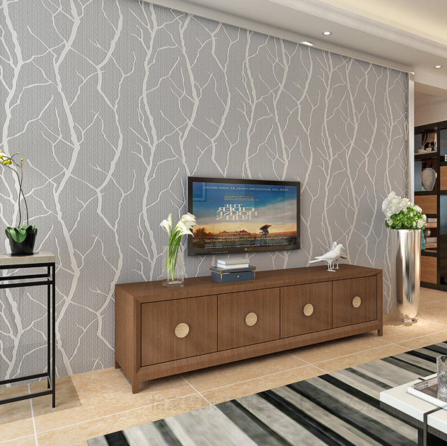 Export Modern Minimalist Thick 3D Suede Non-woven Wallpaper Living Room Bedroom Sofa TV Background Wallpaper