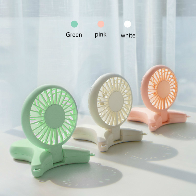 New Small Fans Halter Portable Usb Hold With One Fold Can Charge Mini Fan Outdoor Handheld Air Conditioner Standing Fan