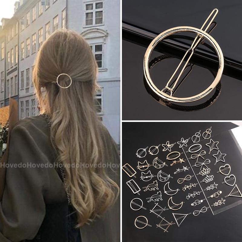Chic Metall Geometrische Haar Clip Runde Dreieck Barrettes Haarnadel Haarspange Haar Krallen Frauen Mädchen Mode Haar Zubehör Geschenke