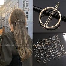 Chic metalowe geometryczne spinki do włosów okrągły trójkąt Barrettes szpilka Barrette spinki do włosów kobiety dziewczyny moda akcesoria do włosów prezenty
