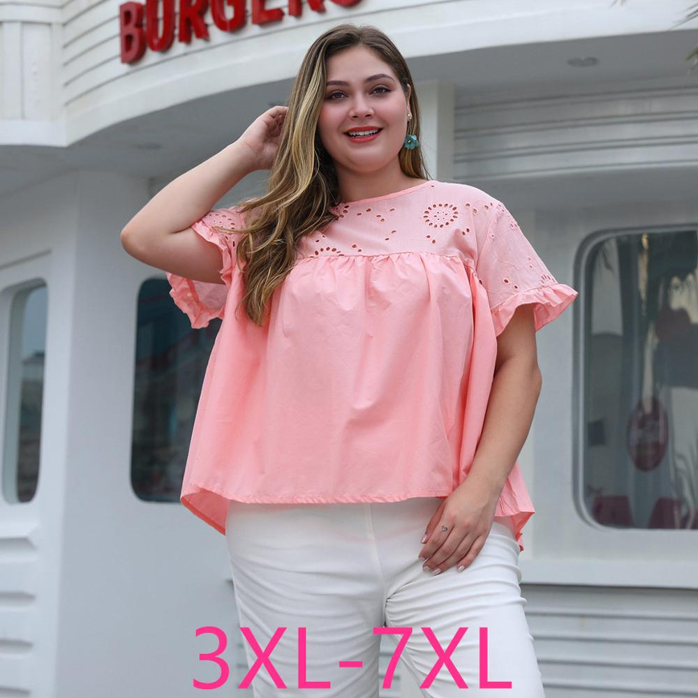 Female 2020 Summer Plus Size Tops For Women Large Short Sleeve Casual Loose Hollow Out O Neck T-shirt Pink 3XL 4XL 5XL 6XL 7XL
