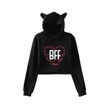 Bff толстовки с принтом лучшего друга пуловер длинным рукавом