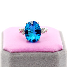 Uloveido טבעי כחול טופז טבעת, 10 קרט חן, 925 טבעות כסף, אבן המזל טבעת, עם תעודת אריזת מתנה 20% FJ304
