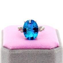 Uloveido Natürliche Blau Topas Ring, 10 Karat Edelstein, 925 Silber Ringe, Birthstone Ring, mit Zertifikat und Geschenk Box 20% FJ304