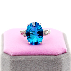 Image 1 - Uloveido Natural Blue Topaz Ring, 10 Carat Gemstone,925 Silver Rings,Birthstone Ring, with Certificate and Gift Box 20% FJ304