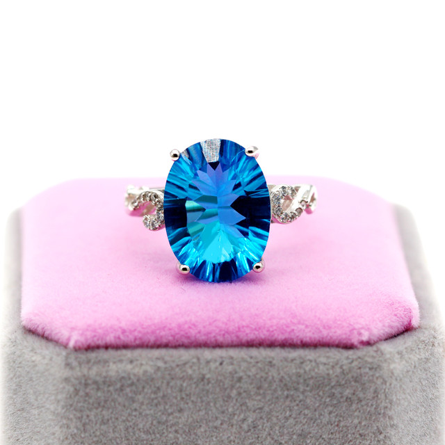 Uloveido Natural Blue Topaz Ring, 10 Carat Gemstone,925 Silver Rings,Birthstone Ring, with Certificate and Gift Box 20% FJ304