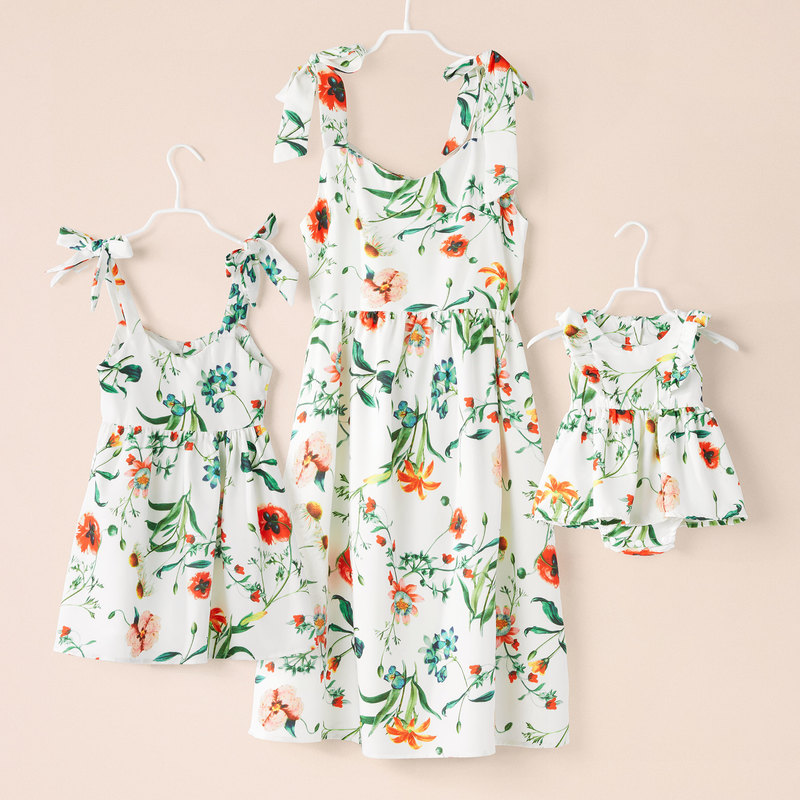 Summer Family Dress Mother And Daughter Matching Girl Daughter Outfits Dresses Mom And Daughter Matching Clothes Cotton Dresses