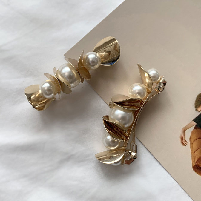 Korea New Shining Metal Wafer Imitation Pearl Hairgrips Hair Clips For Women Hair Jewelry Barrettes Vintage