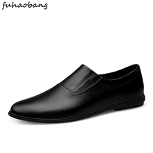 Men #8217 s Loafers shoes New Casual Business Male Flat Shoes outdoor Brand Lazy Work Breathable Mens Driving Flat Sneakers Designer cheap fuhaobang Genuine Leather Cow Leather Rubber Spring Autumn 2019-1008 Fits true to size take your normal size Massage Slip-On