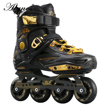 Adult Men and Women Roller Skates Single Row Flash in-Line Skating Sneakers Boots Adjustable Size patins 4 rodas feminino цена 2017