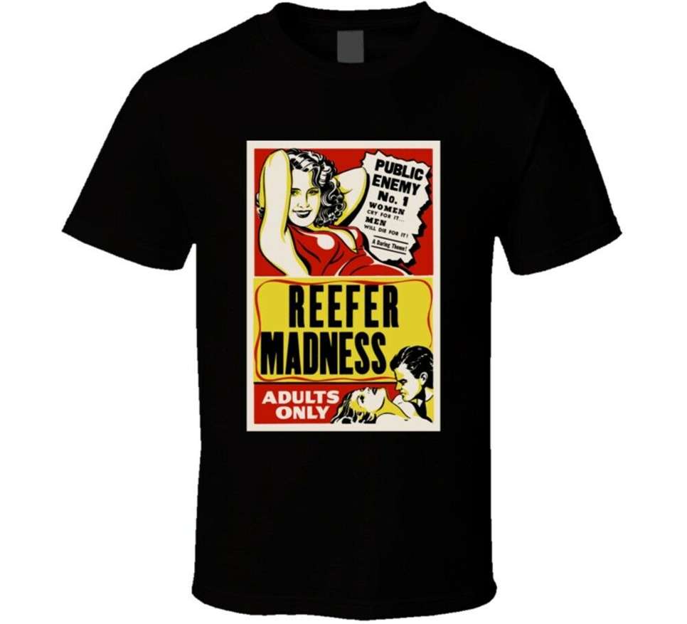 Reefer Madness Retro Classic Weed Movie Poster T Shirt Harajuku Hip Hop Tee Shirt image