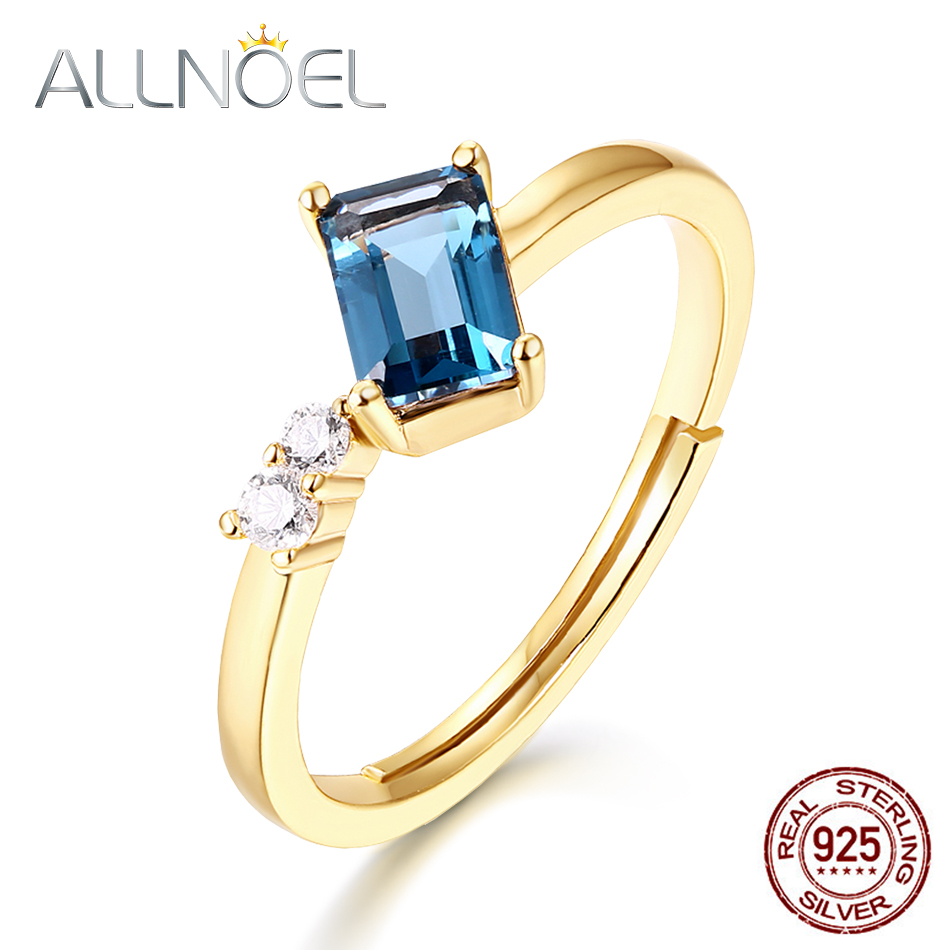 ALLNOEL Solid Silver 925 Sterling Gemstone Ring For Women Classic 100% Natural Blue Crystal Topaz Agate Garnet Fine Jewelry 2019