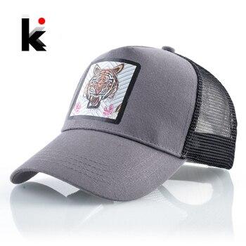 Fashion Baseball Cap Men Women New Trucker Caps With Tiger Patch Snapback Hip Hop Baseball Hat Unisex Breathable Mesh Visor Hat 1