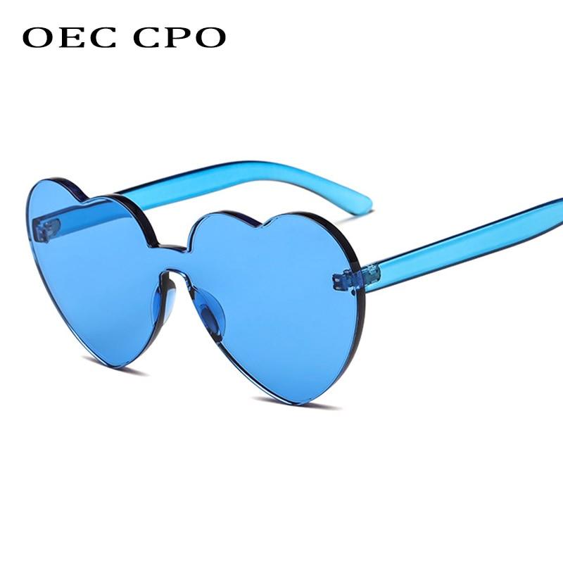 OEC CPO Vintage Rimless Women Sunglasses Heart-shaped Acetate Unisex Fashion Oculos UV400 O66