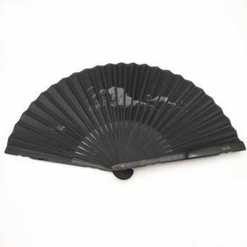 Abanicos De mano plegables con estampado negro elegante, Abanicos De poliéster blancos...