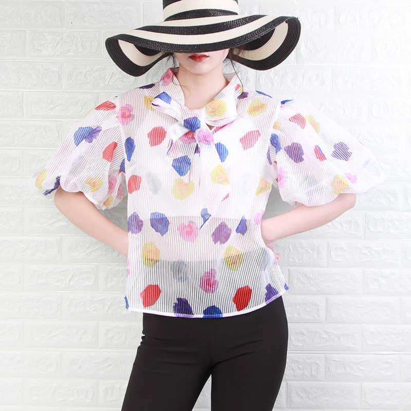 Deuxtwinstyle imprimer à pois chemises Blouse femmes Bowknot lanterne à manches courtes Hit couleur grande taille hauts à rayure femme 2019 nouveau