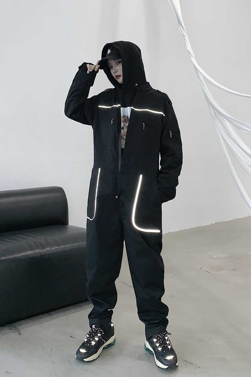 Kobiety z długim rękawem 3M odblaskowe wstążki czarne kombinezony luźne kombinezony Streetwear Hip Hop Punk gotyckie spodnie Harem tancerz Romper