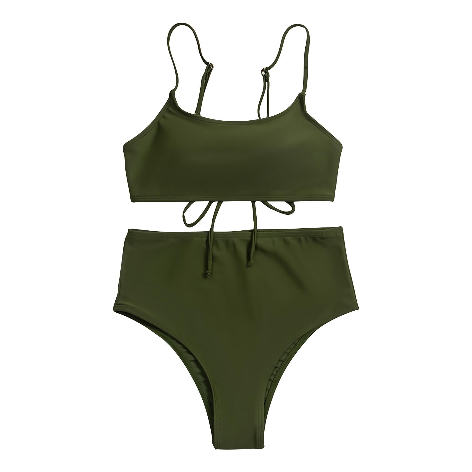 2021 bademode frauen Straping Feste Nähte Split Badeanzug Sexy Bademode Hohe Taille Push-Up Padded Badeanzug купальник