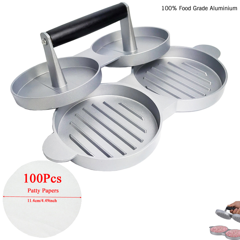 Aluminum Double Burger Press Hamburger Maker Non Stick Cakes Patty Mold for BBQ Grill Accessories DIY Home Kitchen Tool