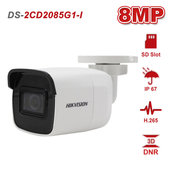 Hikvision 8MP 20fps Bullet Network CCTV IP Camera Original DS-2CD2085G1-I Powered by Darkfighter H.265+ POE WDR SD Card Slot hikvision h 265 poe ip camera ds 2cd2135fwd i 3mp wdr fixed network camera built in sd card slot replace ds 2cd2135f is