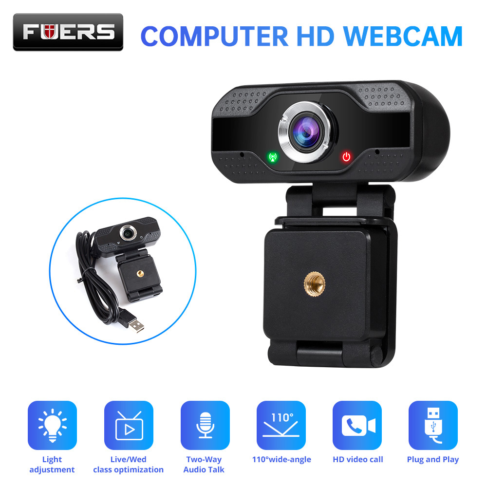 Fuers Full HD 1080P Smart Webcam Video Call Built-in Microphone for Computer Laptop Desktop Conference Work