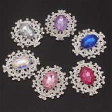 Pierres et cristaux à dos plat, bijoux cousus sur des Strass avec des pierres précieuses acryliques, broche en cristal avec nœud, appliqué pour l'artisanat diamant