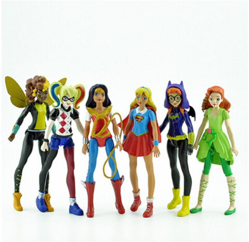 6pcs DC Super Hero Girls Batgirl Poison Ivy Bumble Bee Quinn Action Figure Doll Toy DES