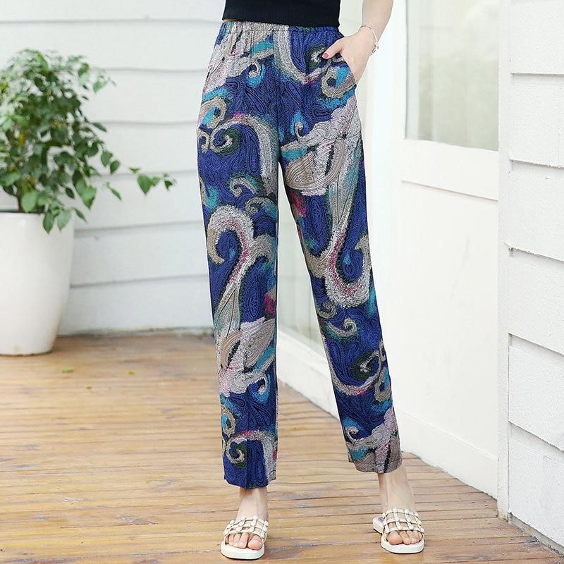 22 Colors 2020 Women Summer Casual Pencil Pants XL-5XL Plus Size High Waist Pants Printed Elastic Waist Middle Aged Women Pants 23