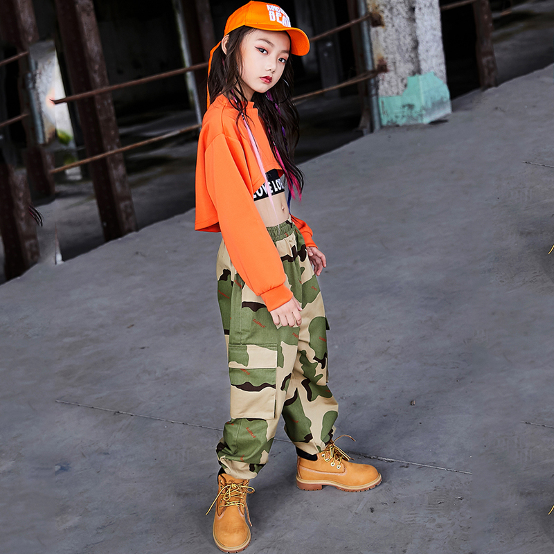 Детские костюмы для джазовых танцев, Летний жилет для девочек, камуфляжные штаны, наряд, танцевальные костюмы в стиле хип-хоп, одежда для сцены