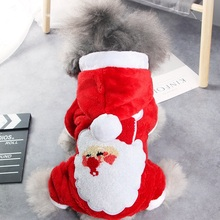 Red Santa Claus Pattern Christmas Pet Coat Winter Warm Dog Clothes Polyester Cotton Cute Jacket Puppy Hoodie